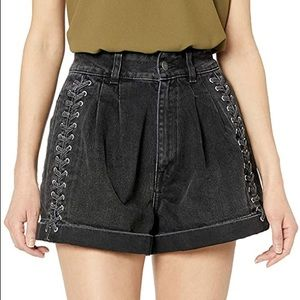 The Kooples Black Lace Up Denim Shorts